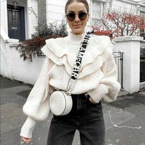 H&M Chunky Heavy Flounced Rib-Knit Sweater Puff